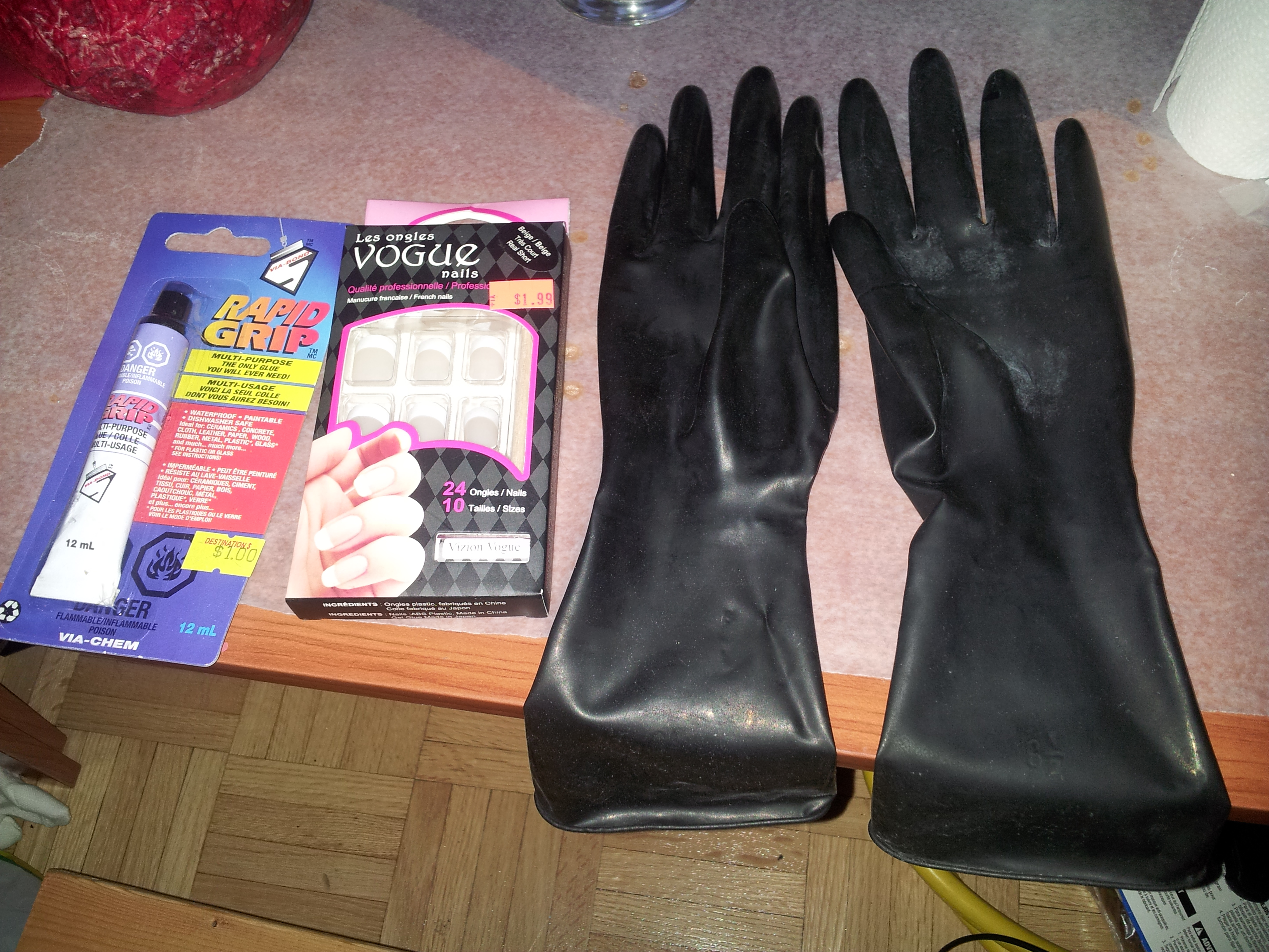 Black gloves with nails - Ingredients Black Latex Gloves Rapid Grip Or Other Epoxy And Acrylic Nails