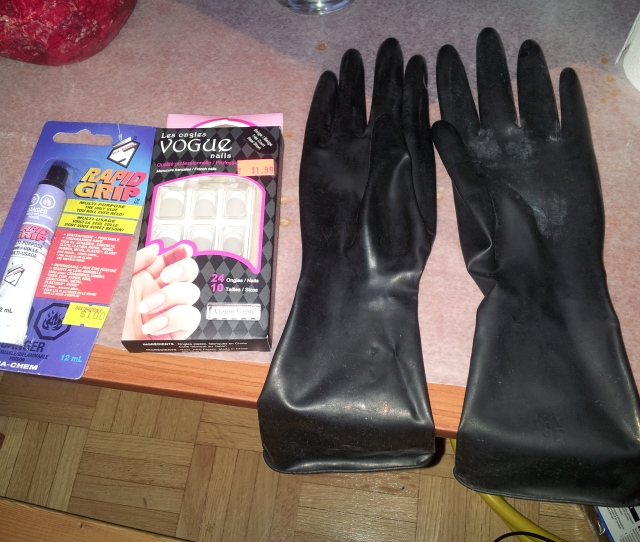 Ingredients Black Latex Gloves Rapid Grip Or Other Epoxy And Acrylic Nails