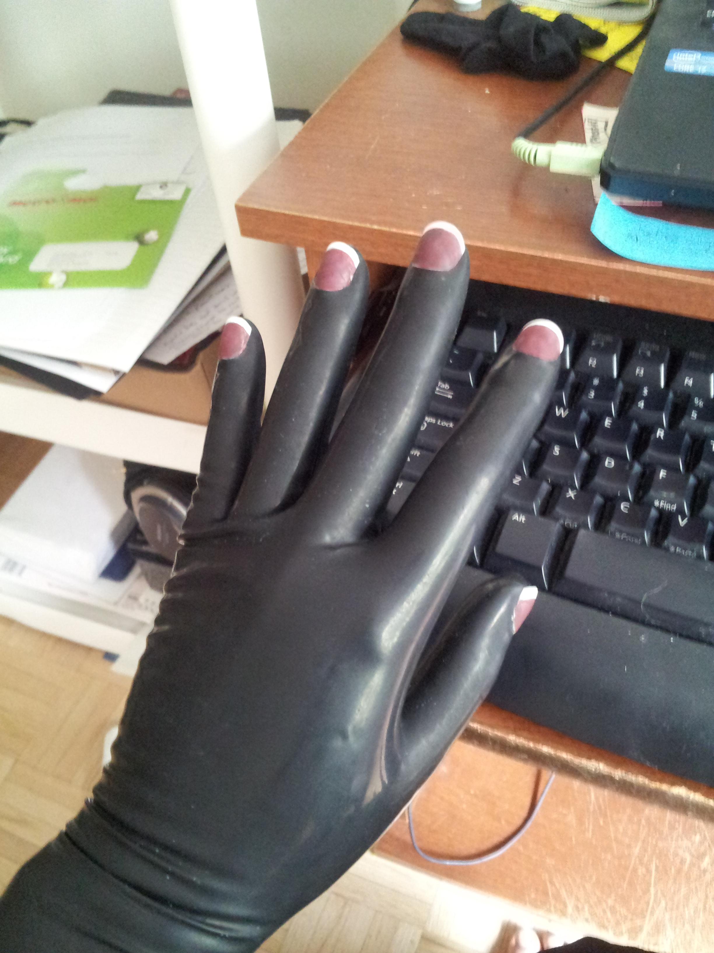 Black gloves with nails -